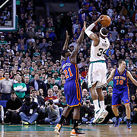 04 March 2012: Boston Celtics small forward Paul Pierce (34) ties the game on a three points to force the overtime during the Boston Celtics 115-111 (OT) victory over the New York Knicks at the TD Garden, Boston, Massachusetts, USA.