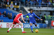 Armand Traore of Cardiff city ® in action with Grant Leadbitter of Middlesbrough. EFL Skybet championship match, Cardiff city v Middlesbrough at the Cardiff city Stadium in Cardiff, South Wales on Saturday 17th February 2018.<br /> pic by Andrew Orchard, Andrew Orchard sports photography.