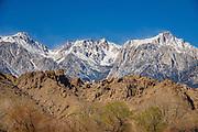 Snow on Sierra Nevada peaks in early spring 2021, near Lone Pine, California, USA.