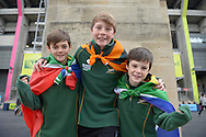 a Group of young South African fans pose outside Twickenham Stadium before k/o. Rugby World Cup 2015 quarter final match, South Africa v Wales at Twickenham Stadium in London, England  on Saturday 17th October 2015.<br /> pic by  John Patrick Fletcher, Andrew Orchard sports photography.