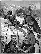 Second Anglo-Afghan War (1878-1880): British troops reconnoitring in mountains between Cabul valley and plain of Jellalabad. Wood engraving February 1880
