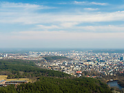High-angle view of Vilnius, Lithuania, with the Neris River running through town; taken from the Vilnius TV Tower.