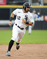 CHICAGO - APRIL 08:  Adam Eaton #12 of the Chicago White Sox runs the bases during the 2021 White Sox home opener against the Kansas City Royals on April 8, 2021 at Guaranteed Rate Field in Chicago, Illinois.  (Photo by Ron Vesely) Subject:  Adam Eaton