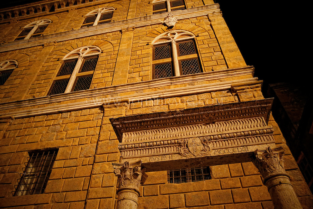 Photo of dramatic architecture in Pienza, Italy.