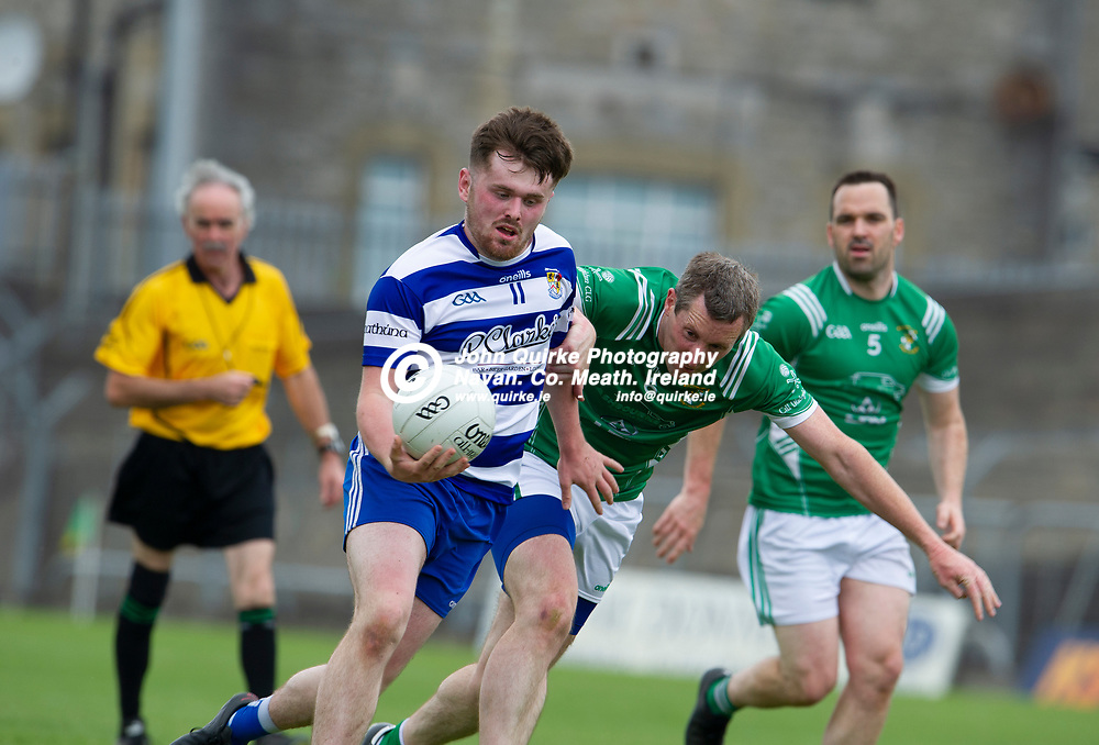 20-06-21. Donaghmore/Ashbourne v Navan O'Mahony's - Premier Football Championship Division 8 Final 2020 at Pairc Tailteann.<br /> Jack Flynn, Navan O'Mahony's in action against James Flavin, Donaghmore/Ashbourne.<br /> Photo: John Quirke / www.quirke.ie<br /> ©John Quirke Photography, 16 Proudstown Road, Navan. Co. Meath. (info@quirke.ie / 046-9028461 / 087-2579454).