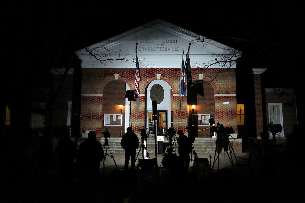 CHARLOTTESVILLE, VA - FEBRUARY 17:  The media waits outside the Charlottesville Circuit Court as the case is given to the jurors for the George Huguely trial. Huguely was charged in the May 2010 death of his girlfriend Yeardley Love. She was a member of the Virginia women's lacrosse team. Huguely pleaded not guilty to first-degree murder. (Credit Image: © Andrew Shurtlef