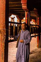 A Chinese monk circumambulating the Samye Monastery, Chatang, Lhoka (Shannan) Prefecture, Tibet (Xizang), China