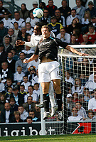 Photo: Steve Bond.<br />Derby County v Bolton Wanderers. The FA Barclays Premiership. 29/09/2007. Kevin Davies (front) is beaten in the air by Claude Davis