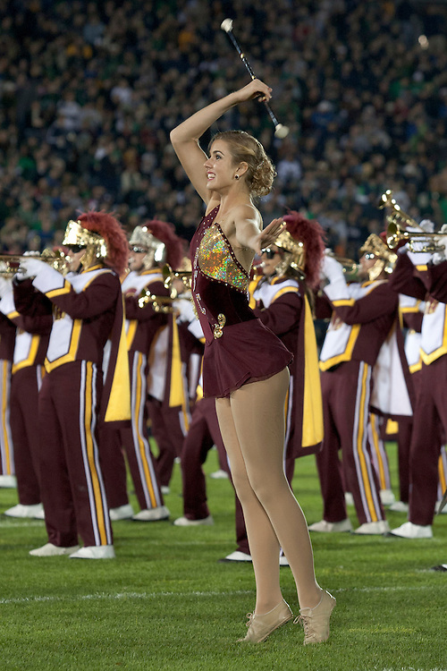 USC majorette performs during halftime of NCAA football game between Notre Dame and USC.  The USC Trojans defeated the Notre Dame Fighting Irish 31-17 in game at Notre Dame Stadium in South Bend, Indiana.