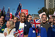 Labour MP Chuka Umunna and Conservative MP Anna Soubry join The People's Vote March For The Future on 20th October 2018 in London, United Kingdom. More than an estimated 500,000 people marched on Parliament to demand their democratic voice to be heard in a landmark demonstration billed as the most important protest of a generation. As the date of the UK's Brexit from the European Union, the protesters gathered in their tens of thousands to make political leaders take notice and to give the British public a vote on the final Brexit deal.
