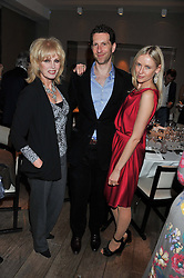 Left to right, JOANNA LUMLEY and MARLON & NADYA ABELA attend the MARC Restaurants Truffle Dinner hosted by Marlon & Nadya Abela at Cassis, 232-236 Brompton Road, London on 13th February 2013.