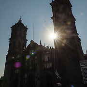 Silhouette of exterior of Puebla Cathedral.
