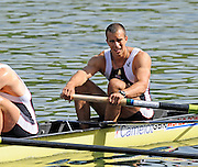 Lucerne, SWITZERLAND. GBR M4-,  Right a dissapointed Tom LUCY,  rowing back to the boat house area after the  B final, getting second and accordingly - 8th position in the Men's Four, their morning Final, at the  2008 FISA World Cup Regatta, Round 2.  Lake Rotsee, on Sunday, 01/06/2008.  [Mandatory Credit:  Peter Spurrier/Intersport Images].Lucerne International Regatta. Rowing Course, Lake Rottsee, Lucerne, SWITZERLAND.