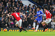 Chelsea's Willian clears during the Barclays Premier League match between Chelsea and Manchester United at Stamford Bridge, London, England on 7 February 2016. Photo by Phil Duncan.