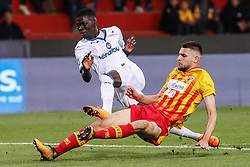 April 18, 2018 - Benevento, Campania, Italy - Musa Barrow of Atalanta BC scoring the 0-2 goal during the Italian Serie A football Benevento Calcio v Atalanta Bergamasca Calcio at..Ciro Vigorito Stadium in Benevento on April 18, 2018  (Credit Image: © Paolo Manzo/NurPhoto via ZUMA Press)