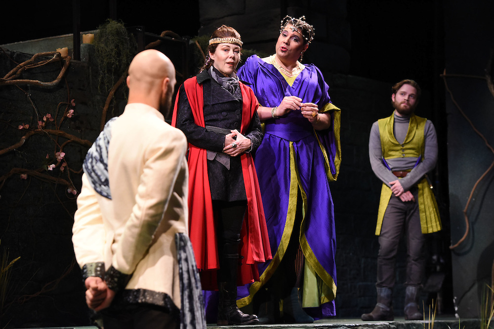 """Mara Lavitt -- Special to the Hartford Courant<br /> March 24, 2016<br /> The run-through of William Shakespeare's """"Cymbeline,"""" at the University Theatre at Yale. From left: Jonathan Higginbotham as Caius Lucius, Kathryn Meisle as Cymbeline, King of Britain; Michael Manuel as The Queen, and Christopher Geary as Cloten."""