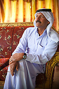 Zedane al-Zalabieh, owner and manager of the Bedouin Meditation Camp, at his office in Rum Village, Wadi Rum, Jordan.