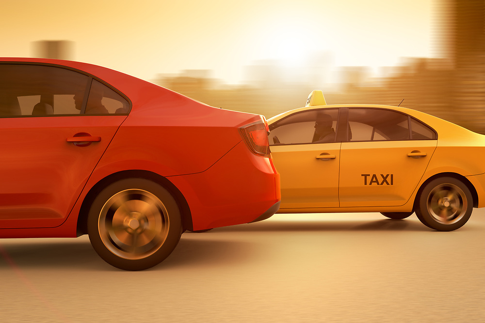 3D rendering of a conceptual image of a race between a regular taxi and an app based service