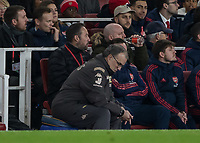 Football - 2019 /2020 FA Cup - Third Round: Arsenal vs. Leeds United.<br /> <br /> Marcelo Bielsa, Manager of Leeds United, sits on the teams drinks cooler with head down at the Emirates Stadium<br /> <br /> COLORSPORT/DANIEL BEARHAM