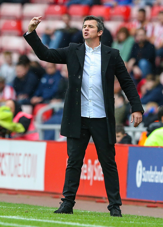 Fleetwood Town manager Joey Barton shouts instructions to his team from the technical area<br /> <br /> Photographer Alex Dodd/CameraSport<br /> <br /> The EFL Sky Bet League One - Sunderland v Fleetwood Town - Saturday September 8th 2018 - Stadium of Light - Sunderland<br /> <br /> World Copyright © 2018 CameraSport. All rights reserved. 43 Linden Ave. Countesthorpe. Leicester. England. LE8 5PG - Tel: +44 (0) 116 277 4147 - admin@camerasport.com - www.camerasport.com