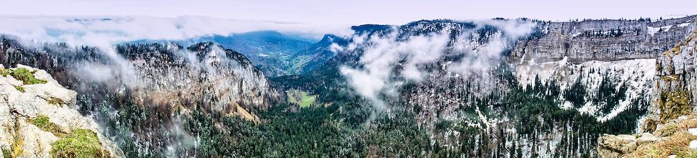 Panoramic view of the Creux du Van, Val-de-Travers, Neuchatel county, Switzerland