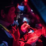 Leg 3, Cape Town to Melbourne, day 10, Juan Vila and Xabi Fernandez on board MAPFRE. Photo by Jen Edney/Volvo Ocean Race. 19 December, 2017.