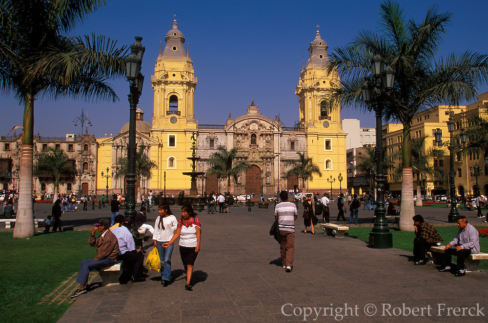 PERU, LIMA, COLONIAL The Cathedral on Plaza de Armas