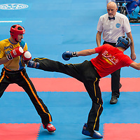Gold medalist Pavlo Zamyatin (L) of Ukraine and silver medalist Denis Hahne (R) of Germany fight in the 2LC 033 S M -74 kg final at the WAKO (World Association of Kickboxing Organizations) World Kick-boxing Championships in Budapest, Hungary on Nov. 10, 2017. ATTILA VOLGYI