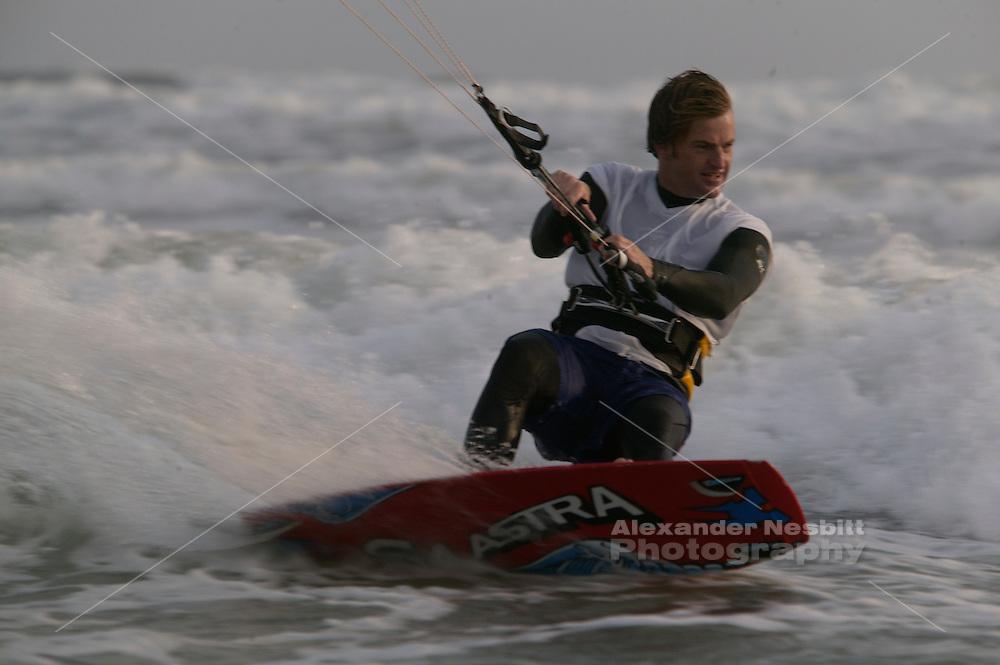 kiting scene at Sachuest (Second) Beach, Middletown Rhode island. Christian Schelbach rider