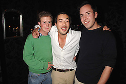 Left to right, GUY PELLY, IAIN RUSSELL and JAMIE MURRAY-WELLS at the opening of the new club Chloe, 3 Cromwell Road, London on 7th June 2007.<br />