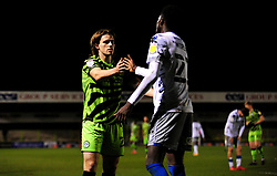 Josh Davison of Forest Green Rovers shakes hands with Brendan Sarpong-Wiredu of Colchester United at the final whistle- Mandatory by-line: Nizaam Jones/JMP - 27/02/2021 - FOOTBALL - The innocent New Lawn Stadium - Nailsworth, England - Forest Green Rovers v Colchester United - Sky Bet League Two