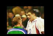 Twickenham, Surrey, 15th February 2003, Six Twickenham, Surrey, 15th February 2003, Six Nationals International RFU Stadium, England,[Mandatory Credit: Peter Spurrier/Intersport Images],  International RFU Stadium, England,[Mandatory Credit: Peter Spurrier/Intersport Images], <br /> RBS - Six Twickenham, Surrey, 15th February 2003, Six Nationals International RFU Stadium, England,[Mandatory Credit: Peter Spurrier/Intersport Images],  Rugby England v France<br /> England captain, Martin Johnson 'get's a word' from referee Paul Horniss.