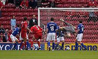Photo. Glyn Thomas,  Digitalsport<br />Middlesbrough v Everton. Barclaycard Premiership.<br />Riverside Stadium, Middlesbrough. 21/09/2003.<br />Everton keeper Mark Schwarzer dives to prevent Boro from extending their 1-0 lead.