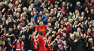 Adam Lallana of Liverpool celebrates with James Milner of Liverpool after scoring during the Premier League match at Anfield Stadium, Liverpool. Picture date: December 11th, 2016.Photo credit should read: Lynne Cameron/Sportimage