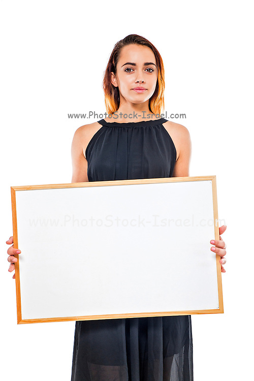 Young model holds a blank whiteboard ready for your text
