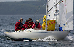 International Dragon Class Scottish Championships 2015.<br /> <br /> Day 1 racing in perfect conditions.<br /> <br /> GBR509, KISMET, Cathy Sedgeworth, Royal Forth YC\<br /> <br /> <br /> Credit Marc Turner