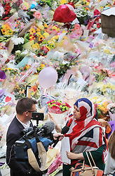 Gulnar Bano Khan Qadri is interviewed following a multi-faith vigil in St Ann's Square, Manchester, to remember the victims of the Manchester terror attack.