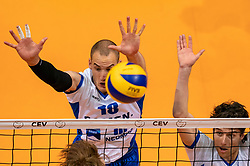 12-05-2019 NED: Abiant Lycurgus - Achterhoek Orion, Groningen<br /> Final Round 5 of 5 Eredivisie volleyball, Orion wins Dutch title after thriller against Lycurgus 3-2 / Dennis Borst #18 of Lycurgus , Frits van Gestel #7 of Lycurgus