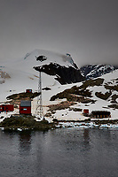 Panorama of Paradise Harbor and Brown Station (Estación Científica Almirante Brown) in Antarctica from the Deck of the Hurtigruten MS Fram. (13 of 16) Image taken with a Fuji X-T1 camera and Zeiss 32 mm f/1.8 lens (ISO 200, 32 mm, f/16, 1/500 sec). Raw images processed with Capture One Pro, Focus Magic, Photoshop CC 2015, and AutoPano Giga Pro