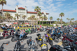 Scene in front of the Hotel Galvez on the Seawall during the Lone Star Rally. Galveston, TX. USA. Friday November 3, 2017. Photography ©2017 Michael Lichter.