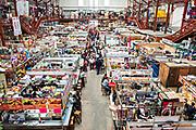View looking down on the vast Mercado Hidalgo, a public market inside a former train station in the historic center of Guanajuato City, Guanajuato, Mexico.