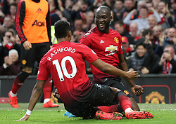 Manchester United's Romelu Lukaku celebrates scoring his side's second goal of the game during the Premier League match at Old Trafford, Manchester.