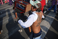 """Mexico, Federal District, Mexico City, December 11-12, 2011. In one of the largest pilgrimages in the world, millions of faithful come from all over Mexico to the Basilica of the Virgin of Guadalupe in celebration of the country's patron saint. For many, Guadalupe represents both the Christian Virgin Mary and the Aztec earth mother Tonantzin: to the """"peregrinos,"""" as they are known, Juan Diego's vision in 1531 of a young woman on a Tepeyac hill was the start of an enduring legend which inspires to this day."""