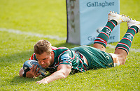 Rugby Union - 2019 / 2020 Gallagher Premiership - Leicester Tigers vs Sale Sharks<br /> <br /> Hanro Liebenbergof Leicester Tigers scores a try at Welford Road.<br /> <br /> COLORSPORT/LYNNE CAMERON
