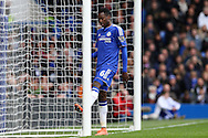 Baba Rahman of Chelsea kicks the post out of frustration. Barclays Premier league match, Chelsea v Stoke city at Stamford Bridge in London on Saturday 5th March 2016.<br /> pic by John Patrick Fletcher, Andrew Orchard sports photography.