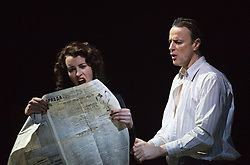 """© Licensed to London News Pictures. 17/12/2012. London, England. Susan Lynch as Margarita and Paul Rhys as The Master. Complicite/Simon McBurney return to the Barbican with the play """"The Master and Margarita"""" by Mikhail Bulgakov from 14 December 2012 - 19 January 2013. Directed by Simon McBurney with Tim McMullan as Pontius Pilate, Susan Lynch as Margarita, Richard Katz as Ivan Nikolayich Bezdomny and Paul Rhys as The Master. Photo credit: Bettina Strenske/LNP"""