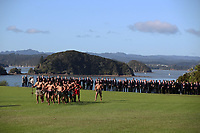 Rugby Union - 2017 British & Irish Lions Tour of New Zealand - British & Irish Lions Visit To Waitangi<br /> <br /> Maori warrior's lay a challenge down for Head coach Warren Gatland of the Lions during the British & Irish Lions Maori Welcome at Waitangi Treaty Grounds  in Waitangi, New Zealand. <br /> <br /> COLORSPORT/LYNNE CAMERON