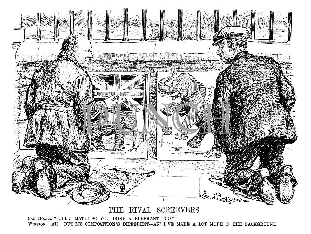 "The Rival Screevers. Sam Hoare. ""Ullo, mate! So you done a elephant too?"" Winston. ""Ah! But my composition's different—an' I've made a lot more o' the background."""