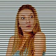 Digitally enhanced image of a Surprised Young teen girl illuminated through shutter blinds