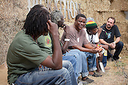 The Sierra Leone Refugee All Stars are interviewed backstage at Pickathon 2012 at Pendarvis Farm in Happy Valley, OR. Photo by Jason Quigley